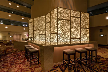 Fusion Woodwork custom architecural screen at the Westin Hotel, Times Square, New York