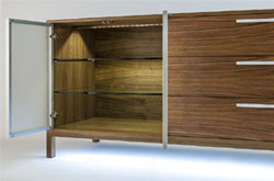 View more pics... Fusion Woodwork walnut credenza custom millwork