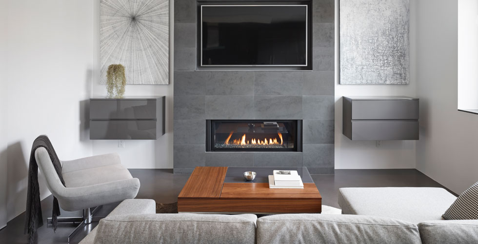 Modern living rooms with built-in  		fireplace. One of Fusion Woodwork's m