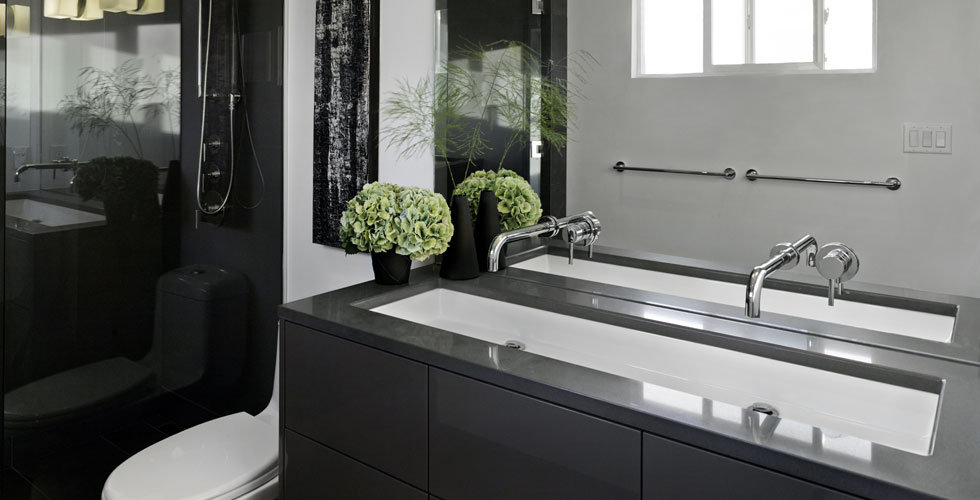 Modern bathroom millwork. An example  		of Fusion Woodwork's m