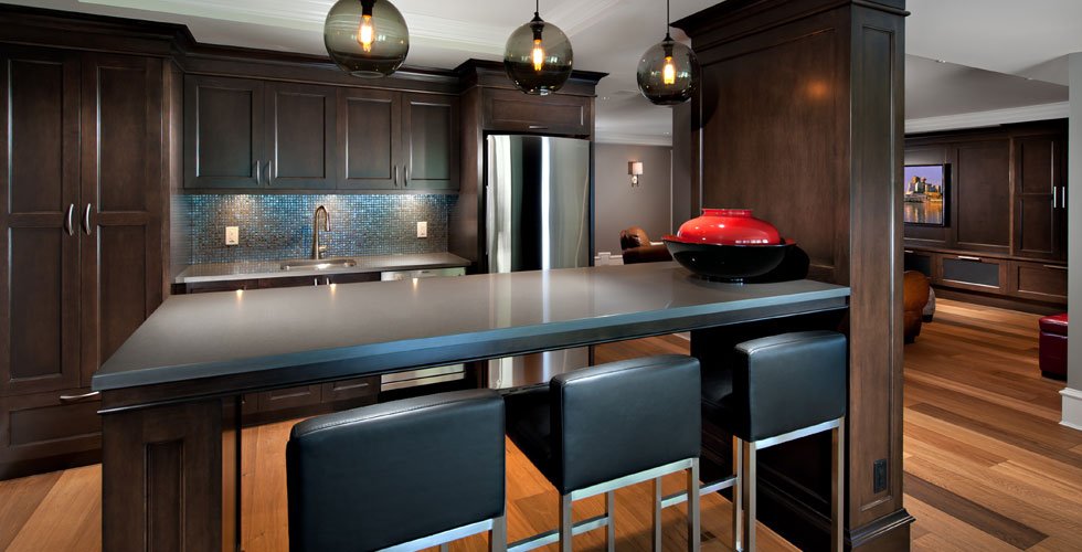 Open concept designer kitchen in this  		West Vancouver house.One of Fusion Woodwork's o