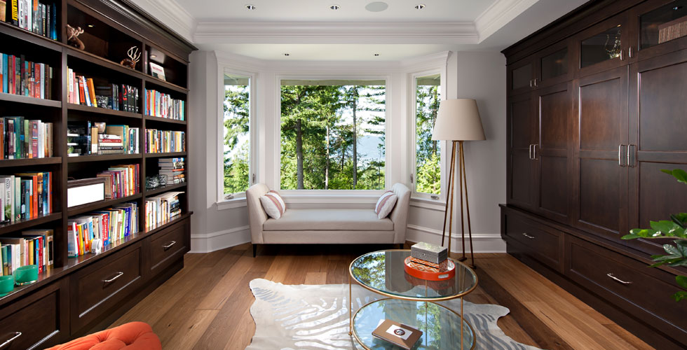 Extensive millwork for this library  		and study. A beautiful West Vancouver house with e
