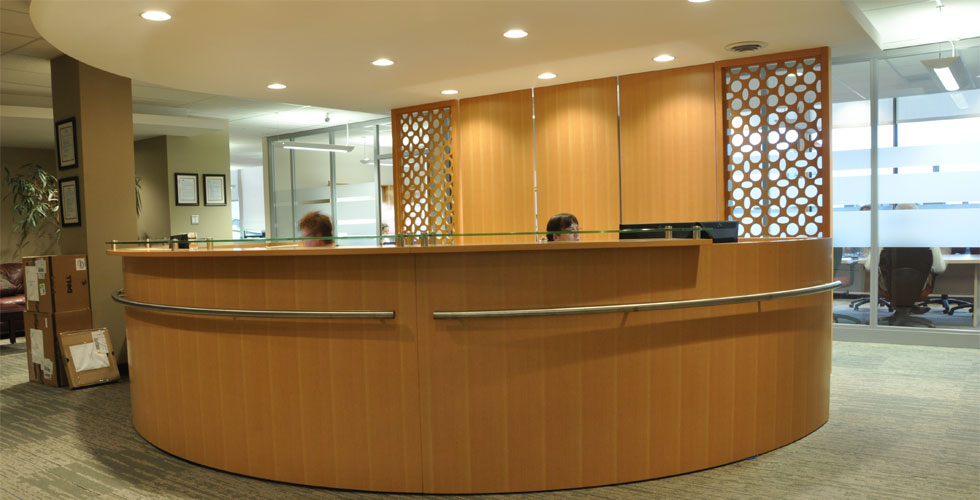 Fusion Woodwork front office reception commercial millwork project at Western Forest Products